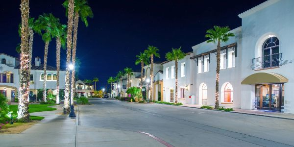 Nighttime downtown La Quinta, California